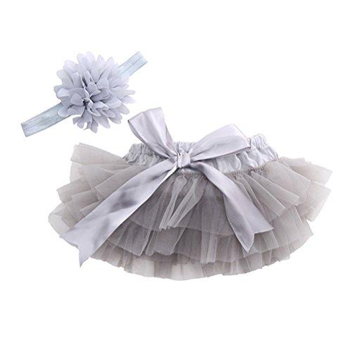 LUOEM Tutu Rock und Blume Stirnband Baby Mädchen Fotografie Requisiten Neugeborenen Geburtstag Kleid Headwear Größe M (grau)