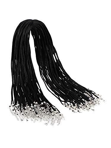 DILISEN 50 Piezas Cuerda de Collar Cordón de Nylon de Collar Negro 2 mm con Cierre de LangoDILISEN con 1,7 Pulgadas de Cadena de Extensión