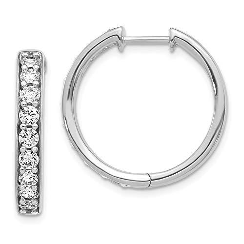 14k White Gold Diamond Hinged Hoop Earrings Ear Hoops Set Fine Jewellery For Women Gifts For Her