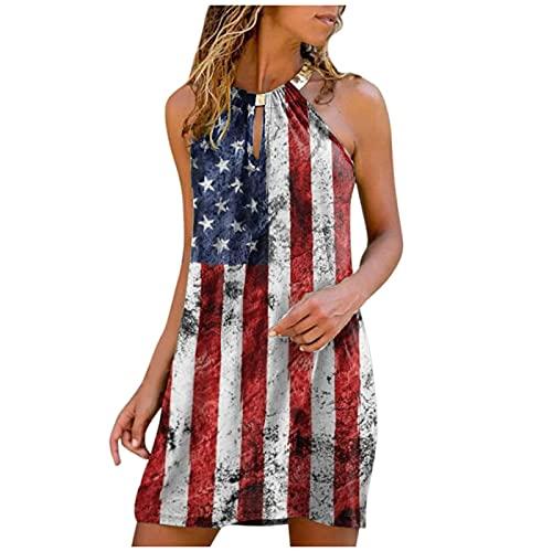 Xmiral Neckholder-Kragen Minikleid Damen Gedruckt Trägerlos Rundhals Summer Beach Kleid(e-Rot,XXL)