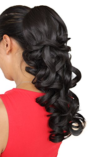 PRETTYSHOP 40cm Haarteil Zopf Pferdeschwanz Haarverlängerung Voluminös Gewellt Dunkelbraun H202