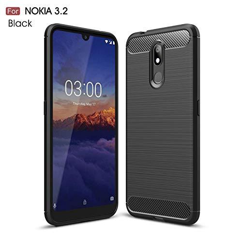 betterfon | Nokia 3.2 Hülle Carbon Erscheinungsbild Outdoor Stoßfeste Handy Tasche Hybrid Case Schutzhülle TPU Silikon Cover Bumper für Nokia 3.2 Schwarz