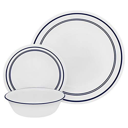 Corelle 18-Piece Service for 6, Chip Resistant, Classic Café Blue Dinnerware Set