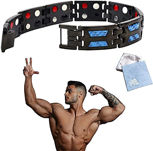 Carbonblue Titanium Magnetic Therapy Bracelet, Blue Carbon Fiber Titanium Bracelet, for Arthritis Pain Relief and Insomnia Deterrence