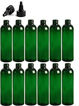 8 Ounce Cosmo Round Bottles PET Plastic Empty Refillable BPA-Free with Black Twist Top Caps  Pack of 12   Green