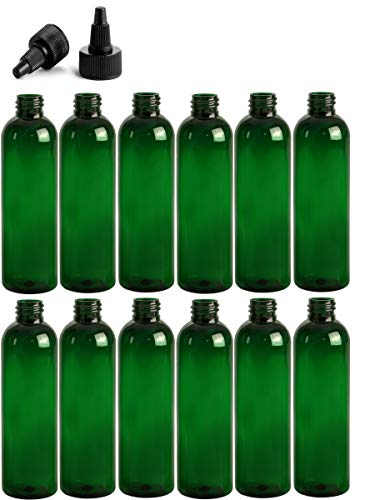 8 Ounce Cosmo Round Bottles, PET Plastic Empty Refillable BPA-Free, with Black Twist Top Caps (Pack of 12) (Green)