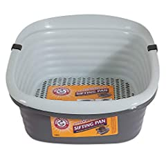 SIFTING LITTER BOX: This sifting kitty litter box includes two regular pans & a sifting pan to provide an efficient way to clean your cat's litter box, no scooping required! Helps keep clean litter fresher for longer. LARGE CAT LITTER BOX: Simply lif...