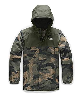 The North Face Boys' Resolve Reflective Jacket, British Khaki Waxed Camo Print, XL