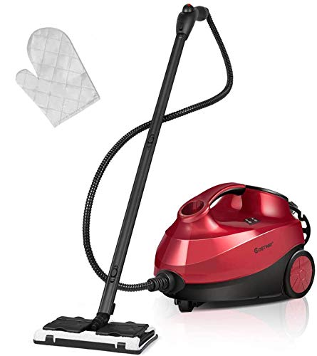 COSTWAY 2000W Multipurpose Steam Cleaner with 19 Accessories, Household Steamer with 1.5L Tank for Cleaning, Heavy Duty Rolling Cleaning Machine for Carpet, Floors, Windows and Cars, Red