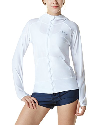 TSLA Women's Hoodie Zip Front Rash Guard, UPF 50+ Long Sleeve Swim Shirts, UV/SPF Sunscreen Wetsuit Swimsuit Top, Sun Block Zip Hoodie(fsz02) - White, Large