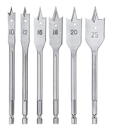kwb 512490 Flachfräs Set, 6-teiliger Flach-Bohrer Satz für Holz 10, 12, 16, 18, 20 und 25-mm