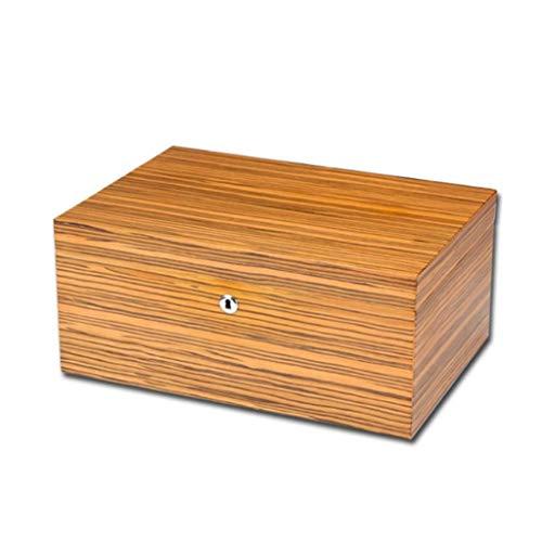 Gymqian Caja de Cigarros de la Caja de Cigarrillos de Cedro de Gran Capacidad Cárcasa de Cigarrillo de Madera de Cedro Accesorios de Cigarro Amarillo con Humidor Humidificador Higró