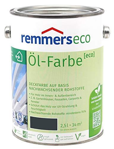 Remmers Öl-Farbe Eco Holzfarbe für Innen und Außen (2,5L, Anthrazitgrau Ral 7016)