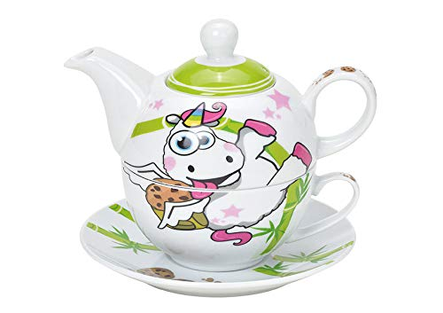 Tea for One Set mit Einhorn (Kanne & Tasse & Untertasse)