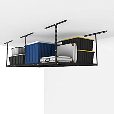 FLEXIMOUNTS 4x8 Overhead Garage Storage Rack Adjustable Ceiling Garage Rack Heavy Duty, 96  Length x 48  Width x (22''-40  Ceiling Dropdown), Black (Two-Color Options)