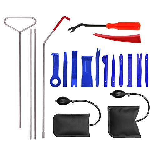 Professional Car Tool Kit, 20pcs Upgrade Automotive Car Door Tools with Long Reach Tool, Auto Trim Removal Set, Air Wedge Emergency Essential Kit for Cars Trunks