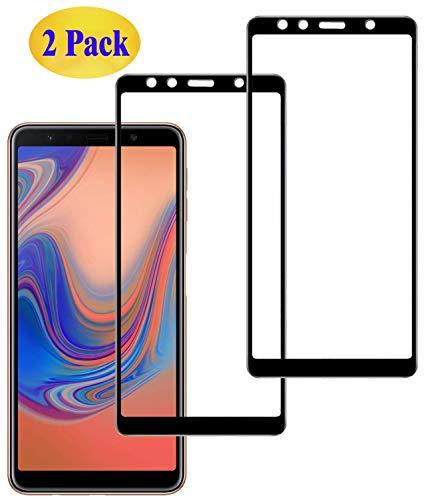 Eachy Samsung Galaxy A7 2018 Panzerglas Schutzfolie, [2 Stück] Vollständige Abdeckung Ultra-klar Bildschirmschutzfolie für Samsung Galaxy A7 2018(SM-A750) Panzerglasfolie 6,0 Zoll-Schwarz(0,33 mm)