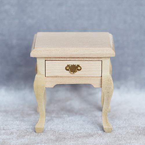 Feli546Bruce Puppenhaus Nachttisch, Mini Simulierte Holz Nachttisch Möbel Modell 1/12 DIY Puppenhaus Zubehör Holz
