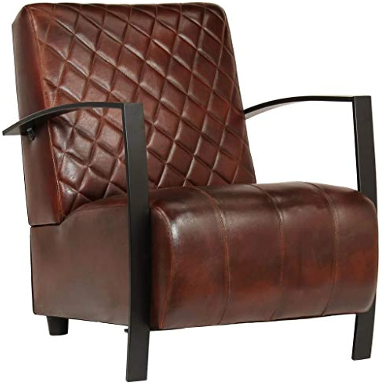 Festnight Sessel  Vintage Loungesessel  Retro Cocktailsessel  Armsessel  Wohnzimmersessel  Braun Echtleder mit Stahlfüen 65 x 75 x 82 cm