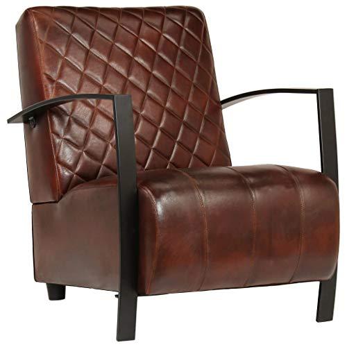 Festnight Sessel | Vintage Loungesessel | Retro Cocktailsessel | Armsessel | Wohnzimmersessel | Braun Echtleder mit Stahlfüßen 65 x 75 x 82 cm