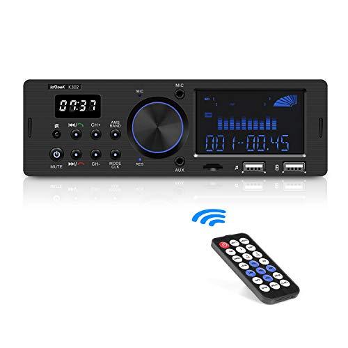 Radio Coche RDS, ieGeek Autoradio Bluetooth 1DIN Estéreo, 60W X 4 Soporta FM/AM/FLAC/AUX/MP3/WMA/WAV/Control Remoto, Reloj de visualización, Capacidad para 30 Emisoras, Manos Libres