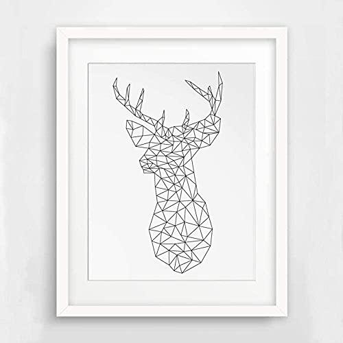 Minimalista cabeza de ciervo triángulos geométricos origami pinturas en lienzo cartel de animal nórdico cuadro de arte de pared para habitación de niños decoración del hogar-40x60cm (sin marco)