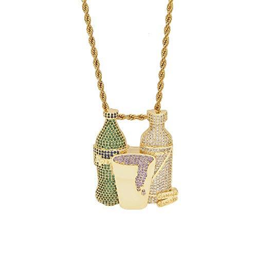 Hip hop fles wijnglas hanger mannen straat mode sieraden (goud, zilver, tweekleurig), sieraden