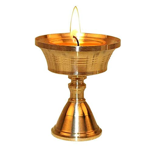 Msoteey Ghee-Lampe Lampstand Golden Lotus for Lampen-Butter-Lampe Bottom Sitzen Startseite Buddhistischer Tempel Buddha Lampstand Taoist Tragbarer Verankerung Buddha Altar Supplies