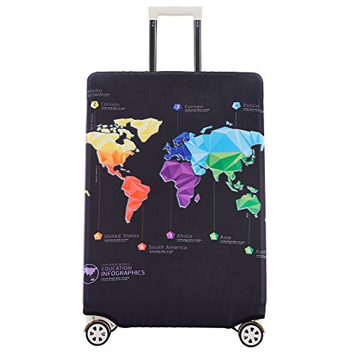 Maysh Travel Luggage Cover Protector Baggage Suitcase Cover Protector Fits 18 to 32 Inch Luggage (Map, L (for 25-28 inch luggage))