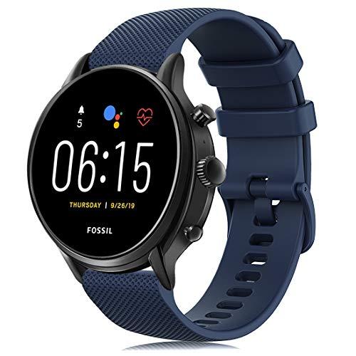 RIOROO Correa Compatible para Garmin Vivoactive 4,Correa Compatible para Fossil Smartwatch Gen 5 / 4 para Hombre Strap 22mm, Azul Sport Silicona Repuesto Pulsera, Accesorios (sin Reloj)