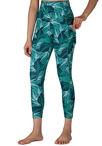 Free Leaper Leggings 7/8 con Bolsillos Mujer Cintura Alta Pantalón Deportivo Yoga y Pilates Mallas para Fitness Running (Hojas de Palmera Verde, XL)