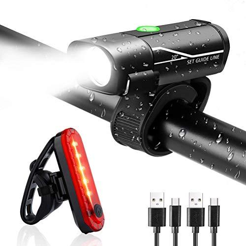Kohyum LED Fahrradlicht Set Multifunktion Fahrradbeleuchtung Fahrradlampe fahrradlichter 1000mah USB Wiederaufladbare IPX4 Wasserdicht Frontlicht Rücklicht für Mountainbike, Camping Abenteuer