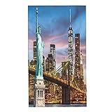 COFEIYISI Toalla de Mano La Estatua de la Libertad y el Puente de Brooklyn con el World Trade Center Toalla de baño pequeña para baño,Manos,Cara,Gimnasio y SPA súper Absorbente Ultra Suave 40x70cm