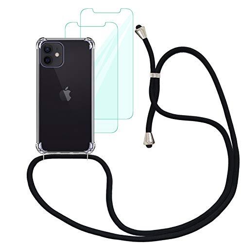 """Yohii Funda con Cuerda Compatible con iPhone 12 / iPhone 12 Pro (6.1"""") y [2 Pack] Cristal Templado Protector de Pantalla, Carcasa Transparente TPU Suave Silicon Colgante Ajustable Collar - Negro"""