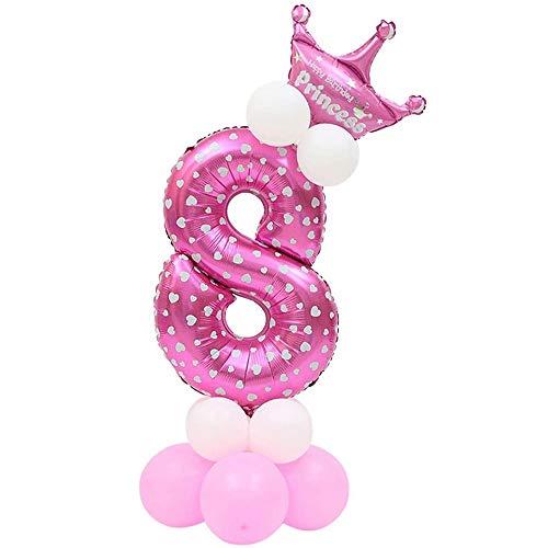 JinSu Decoracion Cumpleaños 8 Años para Niña, 13 PCS con Cumpleaños Globos Numero, Globos de Crown y Globos de Látex (Rosa 8)