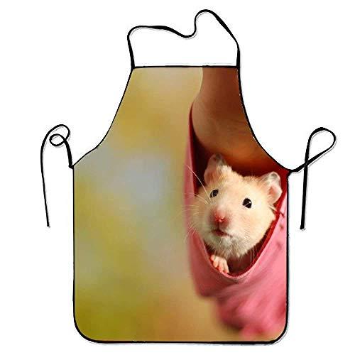 N\A Mode Mignon Hamster Cuisine Tablier pour Femmes Art Tablier Robe Hommes Cuisine Tablier Barbecue Tablier