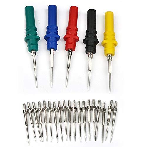 Aofan Juego de 5 pines de sonda trasera para multímetro de 4 mm, agujas afiladas de acero inoxidable con 20 agujas de repuesto para pruebas de diagnóstico automotriz