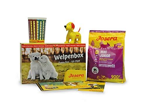 JOSERA Welpenbox mit MiniJunior Welpenfutter | für kleine Rassen | inklusive Messbecher, Welpenfibel und Quietsche-Spielzeug | Super Premium Trockenfutter für wachsende Hunde | 1er Pack