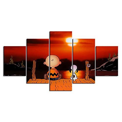 XIAYF Erdnüsse Snoopy 5 Kunstdrucke Leinwandbild Wohnzimmer Wanddekoration Deko Modern Wandbilder Poster Bilder Kreatives Geburtstagsgeschenk150x80cm Rahmen