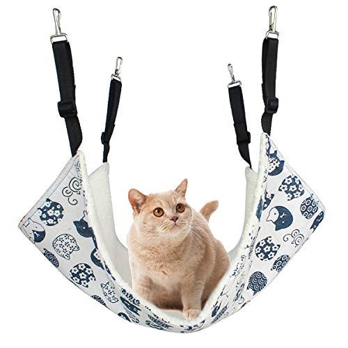 Alien Pet ハンモック 猫 ケージ 椅子の下用 両面使用 昼寝 日向ぼっこ 冬夏兼用 大型 耐荷重 10KG(ホワイト)