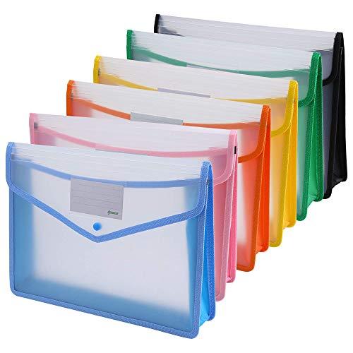 ipow 6PCS Pochette Plastique A4 à Bouton Pression Polypropylène Porte-document Enveloppe Transparente Chemise peut Contenir jusqu'à 800 Feuilles, Classer des papiers Fente pour Carte - 6 Couleurs