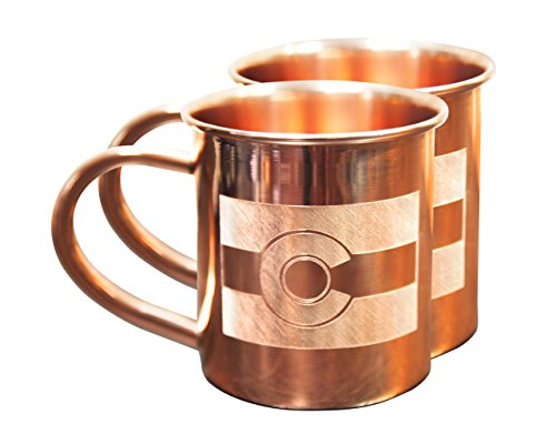 Home State Copper Mugs for Moscow Mules - Colorado Mug - 100% Pure Copper Mug - Best For Moscow Mule Lovers - Set of 2 Copper Cups – 14 oz Size By Alchemade