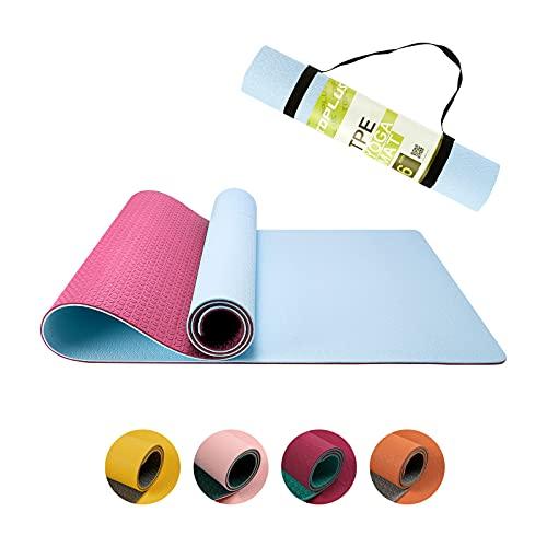 Esterilla de yoga antideslizante para ejercicio y pilates, esterilla de yoga con línea de asana, esterilla de gimnasia TPE con asa de transporte, 183 x 61 x 0,6 cm azul claro y rojo rosa