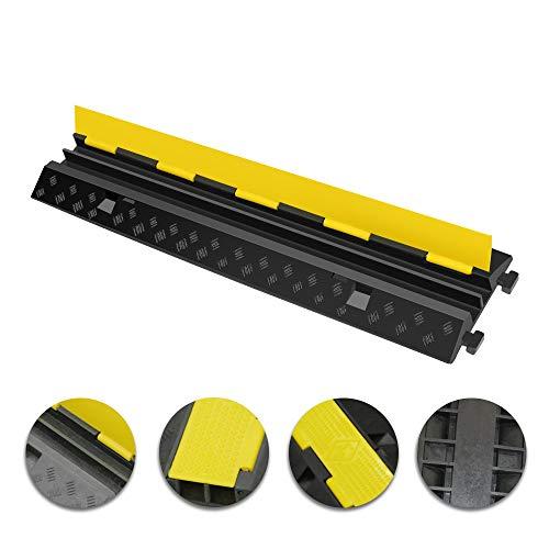 UFLIZOGH Protection au Sol pour Câbles en Caoutchouc 2 Voies Passe câble de Sol Rampe de Protection Ralentisseur modulaire pour Conduits de 32 mm de diamètre (1Pièce, 100x25x5cm)
