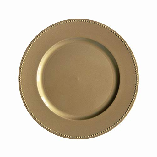 Gold Plastic Beaded Charger Plates - 6 pcs 13 Inch Round Wedding Party Decroation Charger Plates (Gold, 6)