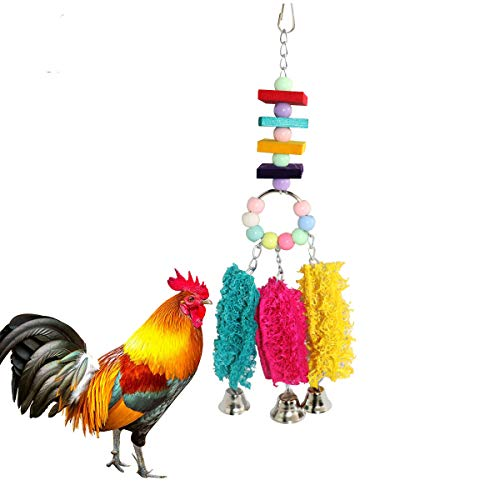 Lanermoon Chicken Toys for Hens with Natural Colorful Loofah Hanging Bells Chewing Toys