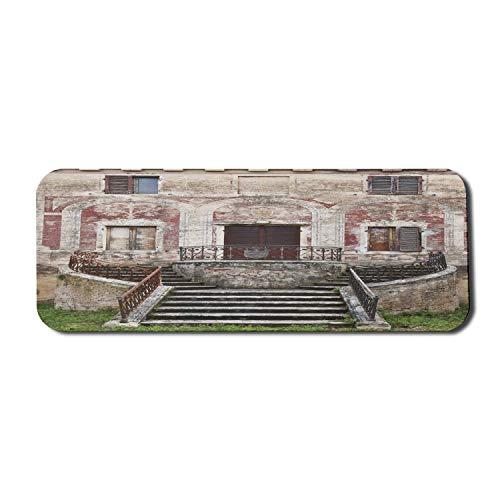 Toskanisches Computer-Mauspad, rustikaler Fenster-Blumentopf aus altem Holzverschluss auf mittelalterlicher Steinmauer, rechteckiges rutschfestes Gummi-Mauspad Großes burgunderfarbenes Elfenbein und G