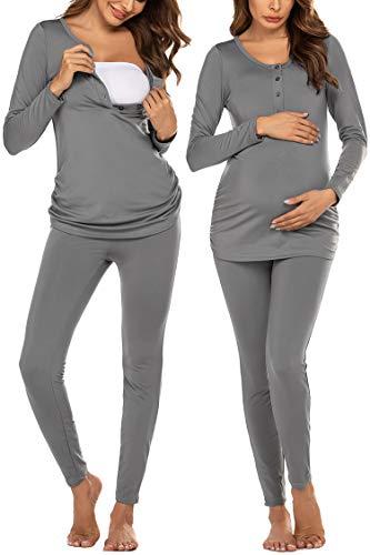 Ekouaer Women Fleece Lined Maternity Thermal Pajamas Set Henley Long Johns Set Base Layer Nursing Breastfeeding (Grey XL)