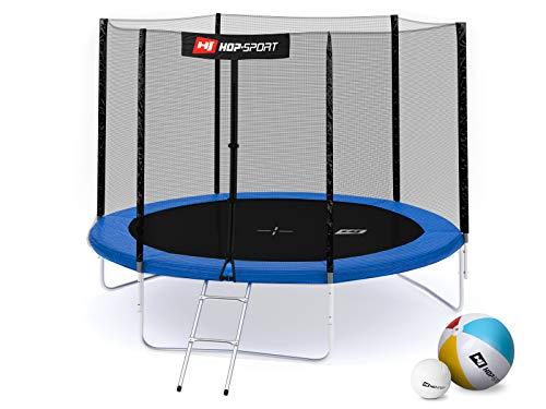Hop-Sport Gartentrampolin Outdoor Trampolin 244, 305, 366, 430, 490 cm Komplettset inkl. Außennetz Leiter Wetterplane Bodenhaken 305cm 3 Beine