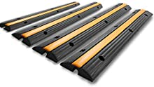 Happybuy 4 Pack of 1-Channel Rubber Protector Heavy Duty 22046Lbs Load Capacity Wire Cord Cover Speed Bump Driveway Hose Cable Ramp Protective, 1channel-4pc-ramp, Black and Yellow